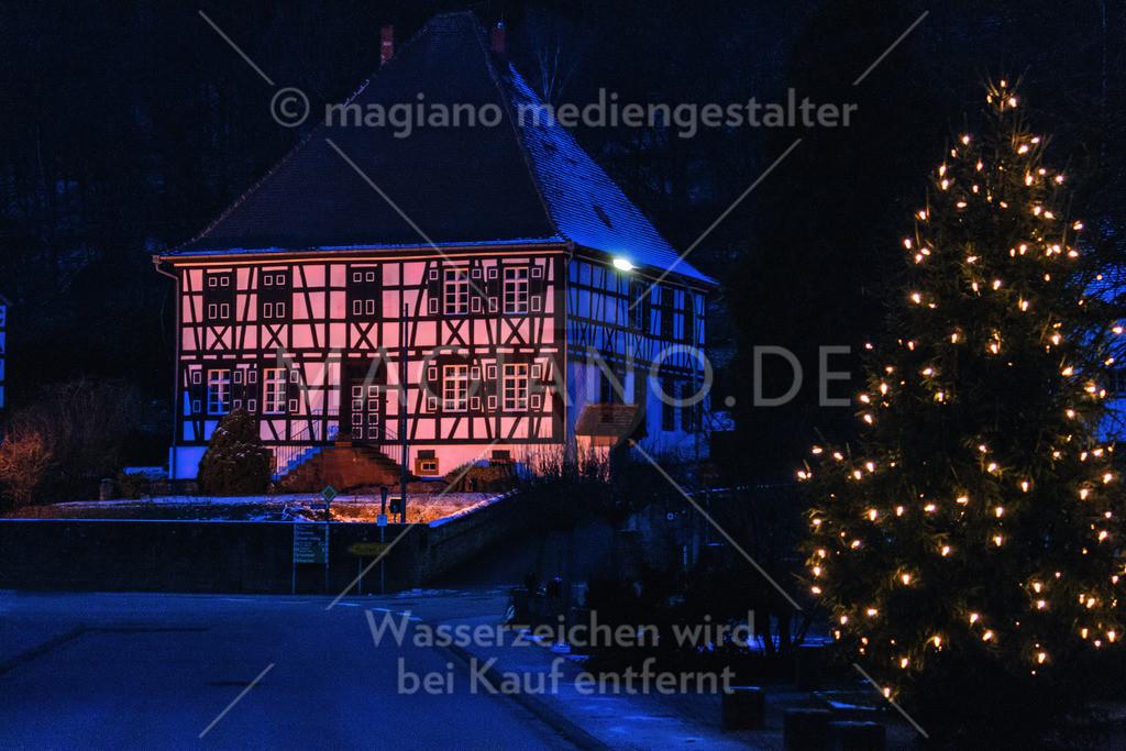 Ehemaliges Forstamt Eppenbrunn mit Weihnachtsbaum im Vordergrund