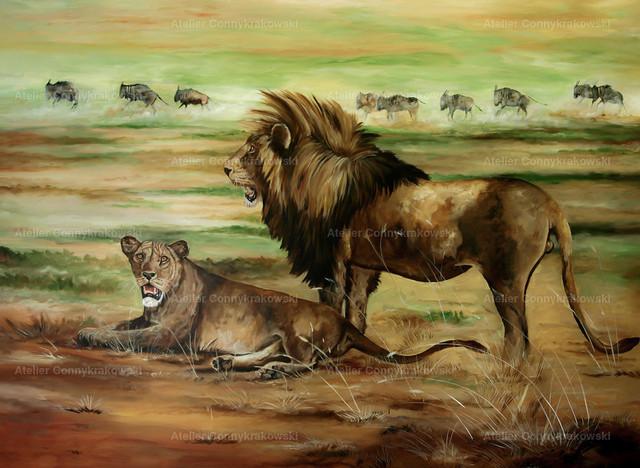 Die Löwen in Steppe C | Phantastischer Realismus aus dem Atelier Conny Krakowski. Verkäuflich als Poster, Leinwanddruck und vieles mehr.