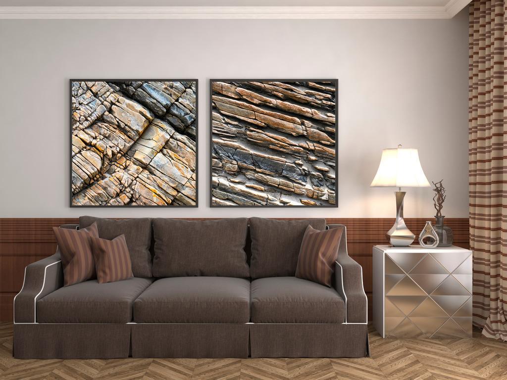 Duo abstrakter Felsstrukturen fürs Wohnzimmer | Anwendungsbeispiel für die Gestaltung Ihres Wohnbereichs mit mehreren Bildern. Sie finden diese Motive in der Galerie Nimm drei - Steingeschichten - Stein IV