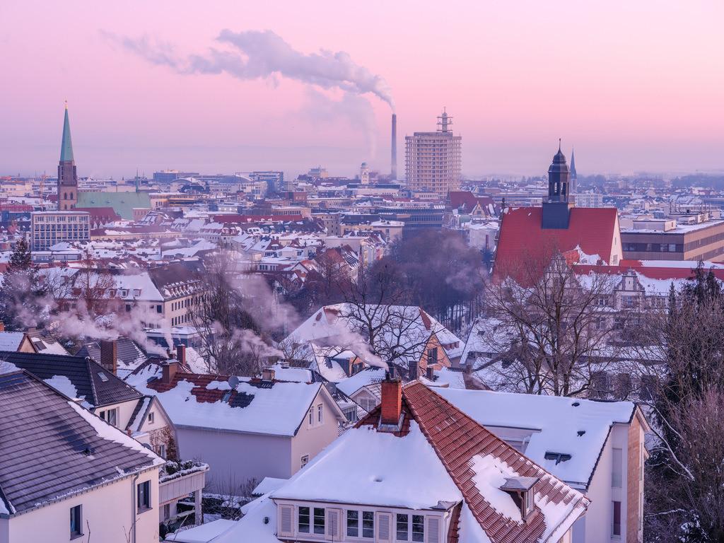 Bielefelder Innenstadt im Winter | Blick über die Bielefelder Innenstadt an einem Morgen im Februar.