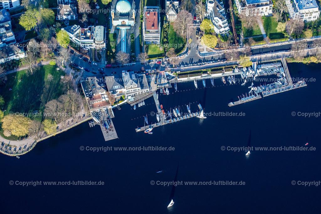 Hamburg_Uhlenhorst_Bootsanleger_ELS_4907200421 | HAMBURG 20.04.2021 Sportboot- Anlegestellen und Bootsliegeplätzen des