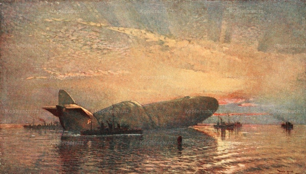 Maxwell_ Donald (1877-1936) - Naval Front 1920 - Zeppelin L15 in the Thames 1916