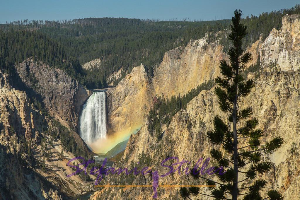 Lower Falls with rainbow / Lower Falls mit Regenbogen   There is only a short timeslot where you can see a rainbow at the Lower Falls. /  Es gibt nur ein kurzes Zeitfenster, in dem man einen Regenbogen in den Lower Falls sehen kann.