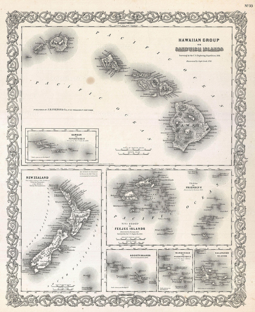 1855_Colton_Map_of_Hawaii_and_New_Zealand