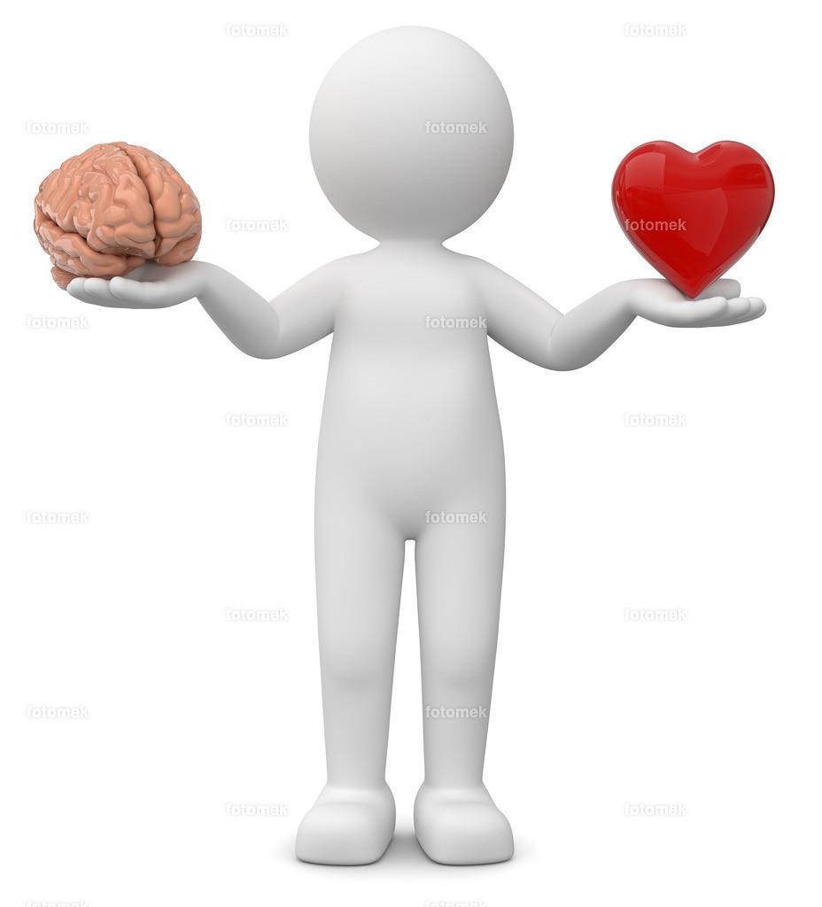 3d Männchen Wahl Herz oder Gehirn | 3d Männchen bei einer schwierigen Entscheidung, Kopf oder Bauchgefühl, soll ich lieber auf mein Herz hören?