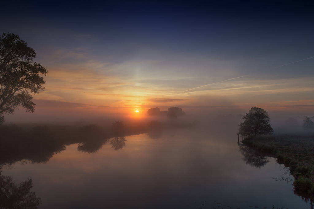 Frühnebel an der Hamme | Tolle Sonnenaufgangsstimmung an der Hamme.