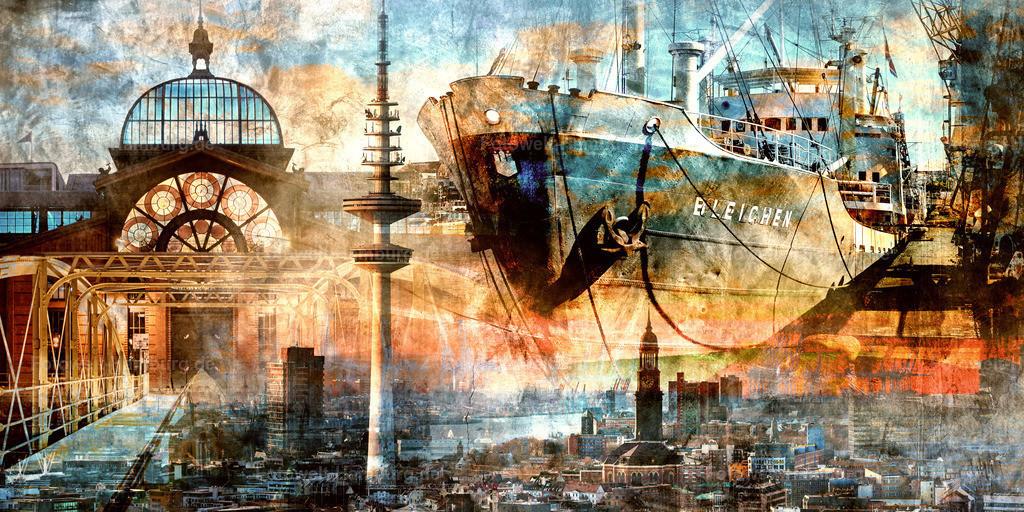 10210415 - Hamburg Collage 046 | Moderne abstrakte Hamburg Collage im Pop-Art Stil mit vielen bekannten Hamburg Motiven, wie z.B. der Fischauktionshalle und der MS Bleichen.