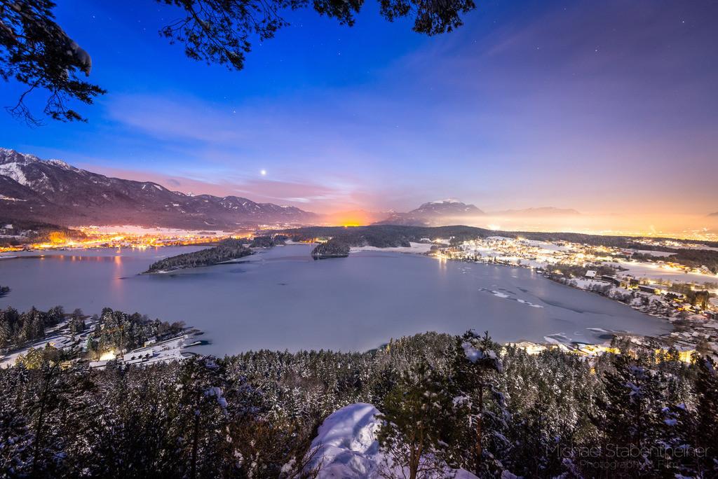 Faaker See bei Villach im Vollmond | Winterlandschaft auf der Taborhöhe