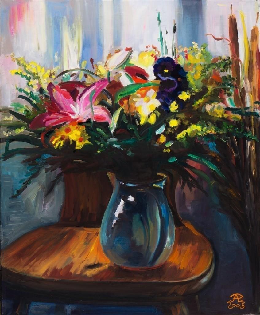 Blumenstrauß auf einem Stuhl | Originalformat: 50x60cm  -  Produktionsjahr: 2005