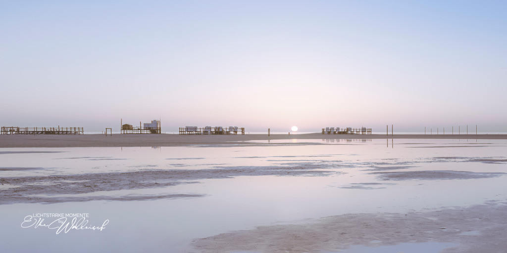 Sonnenuntergang (fast) in weiß | Sankt Peter-Ording