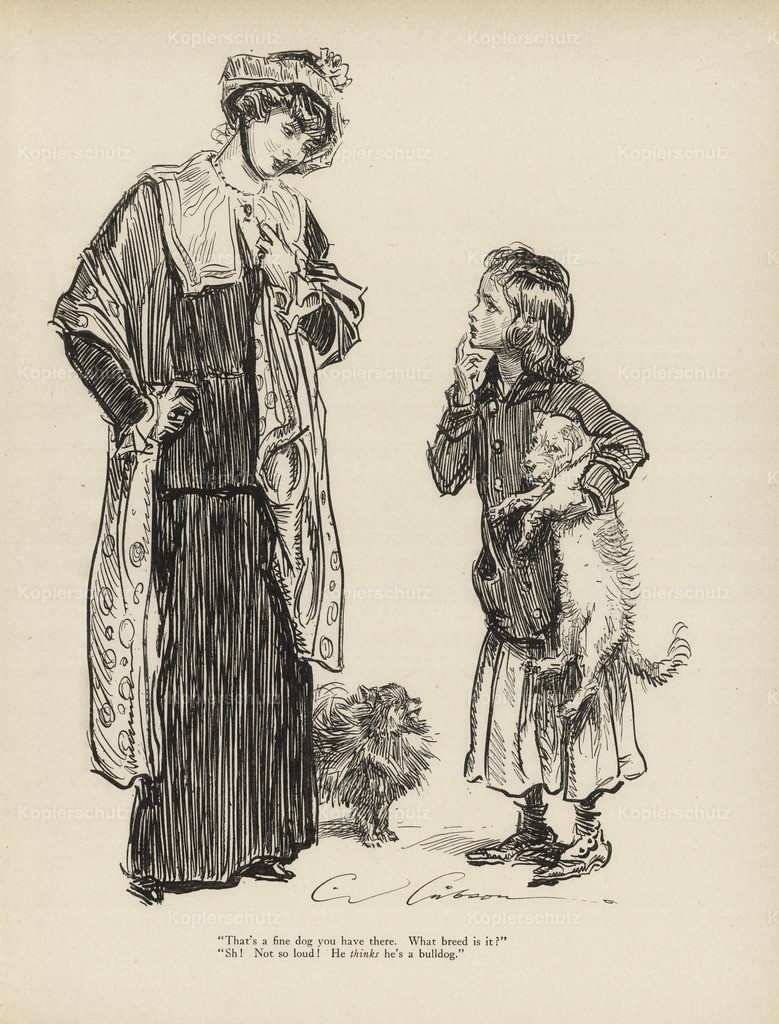 Gibson_ Charles Dana (1867-1944) - Gibson New Cartoons 1916 - Woman _ child with dogs