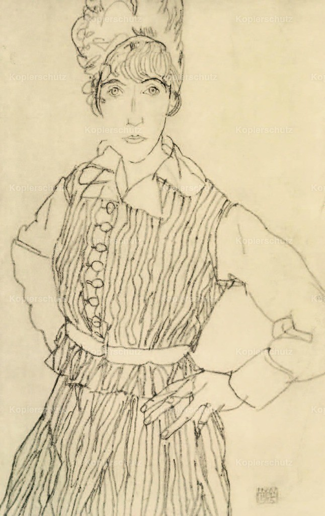 Schiele_ Egon (1890-1918) - Portrait of Artist_s wife with hands on hips 1915