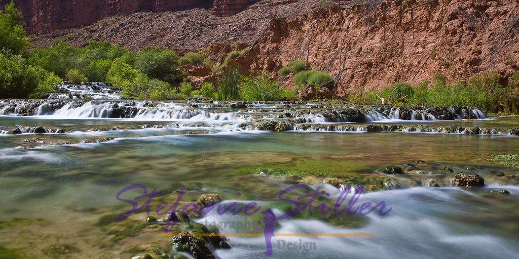 Litte Navajo Falls | Sanft fällt der Havasu Creek über die Stufen der Little Navajo Falls