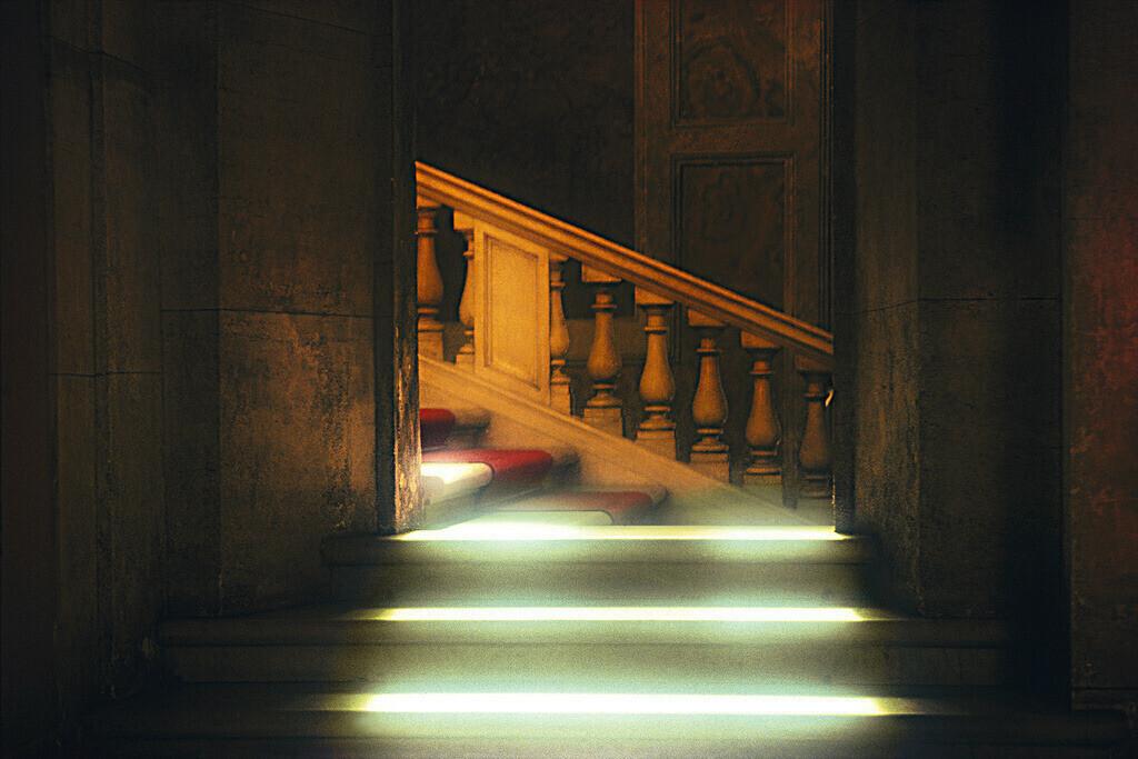 Roma | Lichtstrahlen auf einer Treppe in Rom, Stadtpalais