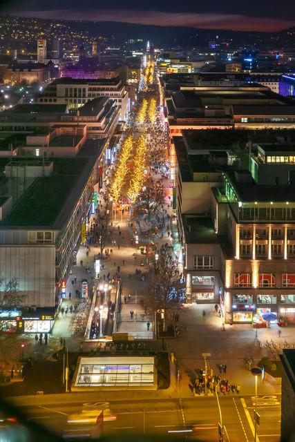 Stuttgart Königstraße Fußgängerzone Nachtaufnahme | DEU, Deutschland, Filderstadt, 29.12.2018, Stuttgart Königstraße Fußgängerzone Nachtaufnahme [2018 Jahr Christoph Hermann]