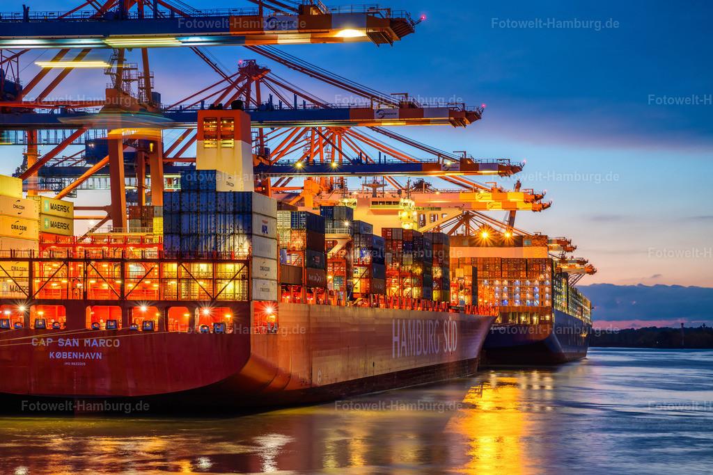 10201019 - Blaue Stunde im Waltershofer Hafen | Tolle Lichtstimmung im Waltershofer Hafen zur blauen Stunde mit Blick auf die Cap San Marco.