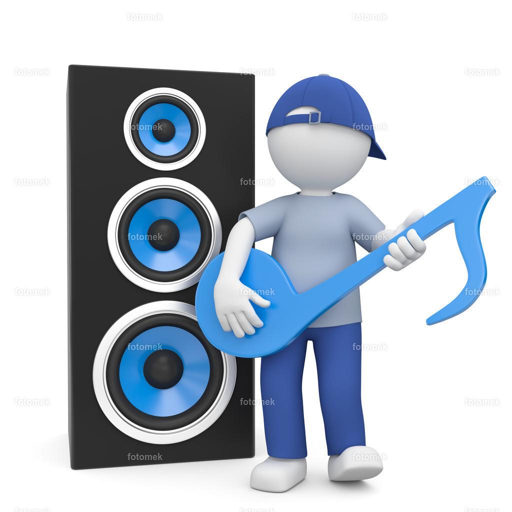 3d Männchen Musik | 3d Männchen mit Lautsprecher spielt auf Musiknote Gitarre.