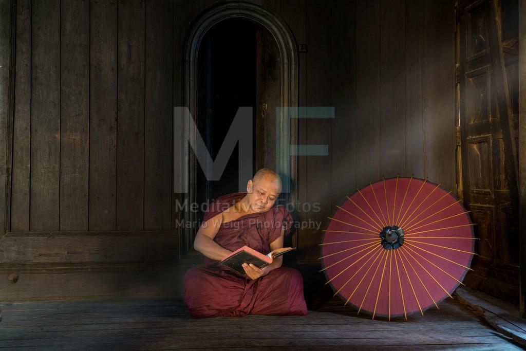 MW1119-2756 | Fotoserie DER ROTE SCHIRM | Mönch beim Lesen buddhistischer Schriften