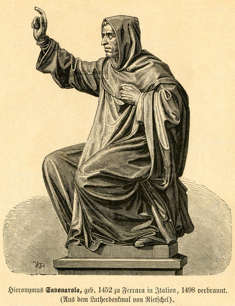 Hieronymus Savonarola / Hieronymus Savonarola | Europa, Italien, Ferrara, Girolamo Savonarola, italienischer Dominikaner, Motiv aus :