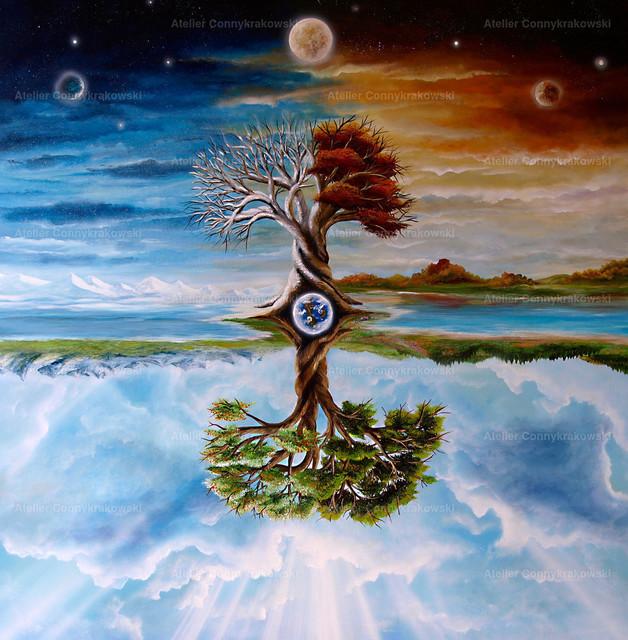 Jahreszeitenbaum | Phantastischer Realismus aus dem Atelier Conny Krakowski. Verkäuflich als Poster, Leinwanddruck und vieles mehr.