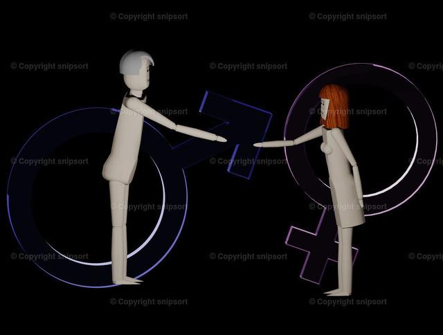 Mann und Frau kommen aufeinander zu (3D-Rendering) | Mann und Frau geben sich die Hand zum Zeichen der Gleichberechtigung mit Symbolen für Männlichkeit und Weiblichkeit im Hintergrund (3D Illustration)