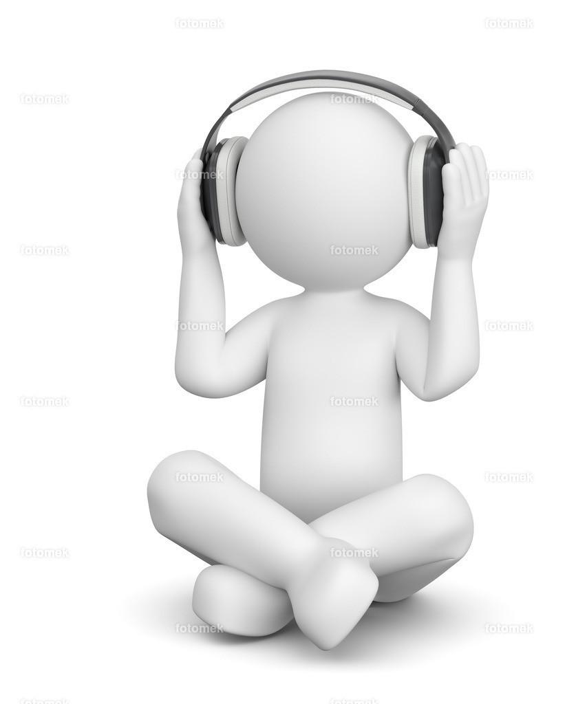 3d Männchen mit Kopfhörer | 3d Männchen hört Musik mit Kopfhörern. Das Männchen entspannt sich mit Meditation.