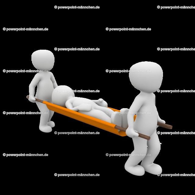 The injured person is carried away on a stretcher | Quelle: https://3dman.eu   Jetzt 250 Bilder kostenlos sichern