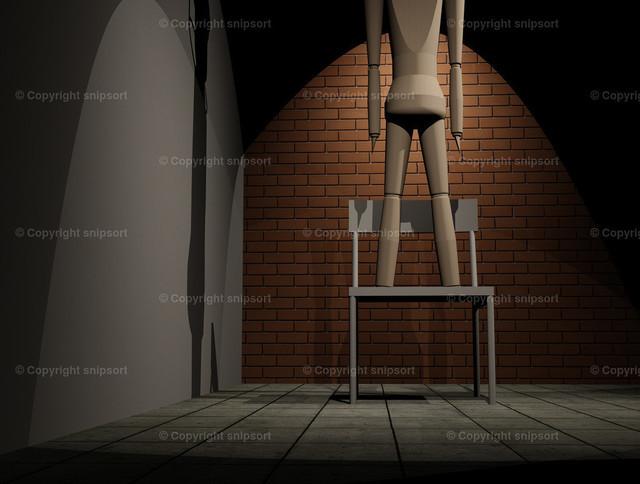 Mann steht auf einem Stuhl mit der Absicht, sich umzubringen | Konzept eines Suizids durch Erhängen (3D Illustration)