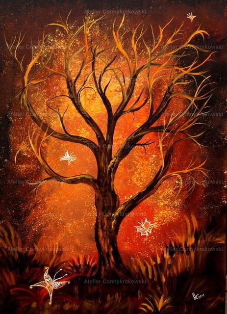 Schmetterlingsbaum-2 | Phantastischer Realismus aus dem Atelier Conny Krakowski. Verkäuflich als Poster, Leinwanddruck und vieles mehr.