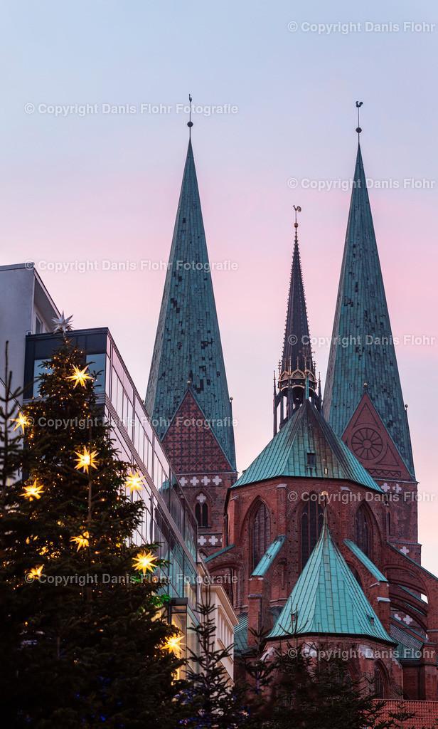 Winterlicher Blick auf St. Marien | Blick auf St. Marien mit weihnachtlich geschmücktem Baum im Vordergrund.
