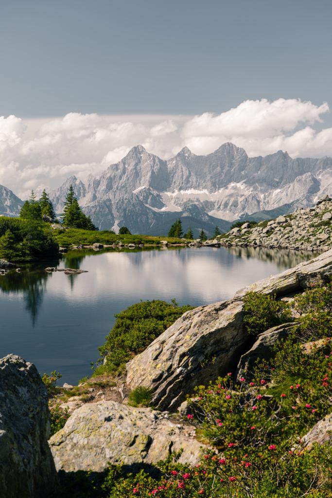 Der Spiegel des Dachsteins | An windstillen Tagen spiegeln sich die Spitzen des Dachsteins im mittleren Gasselsee (Spiegelsee).