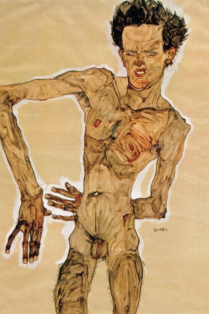 Schiele_ Egon (1890-1918) - Nude Self-portrait grimacing 1910