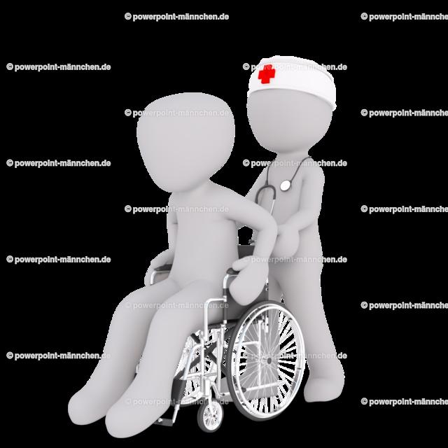 The nurse pushes the patient in the wheelchair | Quelle: https://3dman.eu   Jetzt 250 Bilder kostenlos sichern