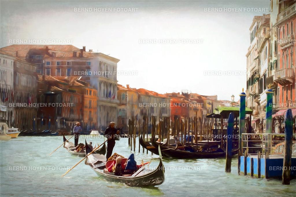 gondolas gondolas | Foto einiger Gondeln in Venedig mit Blick auf San Polo, Italien / Digitale Bildbearbeitung /