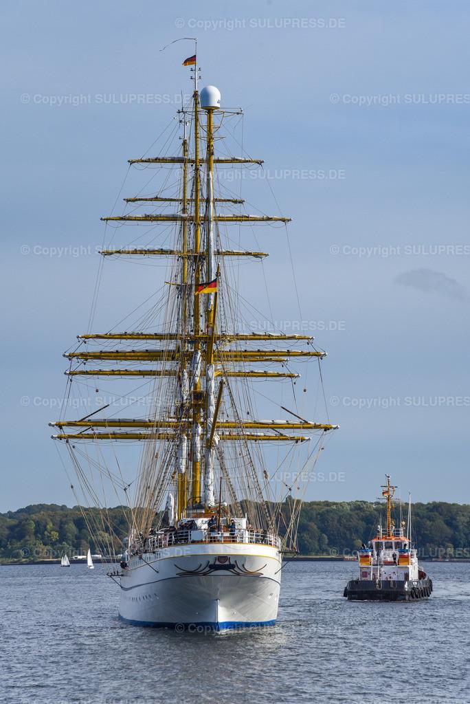 Gorch Fock Rückkehr nach Kiel   Kiel, nach fast sechs Jahren und einer vollständigen Grundinstandsetzung für 135 Millionen Euro kehrt das Segelschulschiff Gorch Fock (Bj. 1958) in seinen Heimathafen nach Kiel zurück. Im Bild: Das Heck der Gorch Fock.