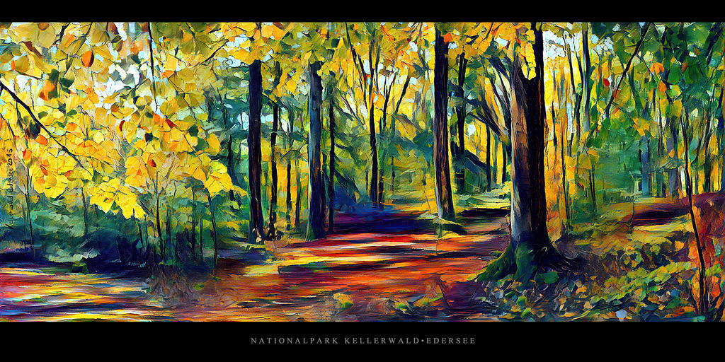 Gemälde Nationalpark Kellerwald-Edersee | Gemälde vom Buchenwald im Nationalpark Kellerwald-Edersee im Herbst