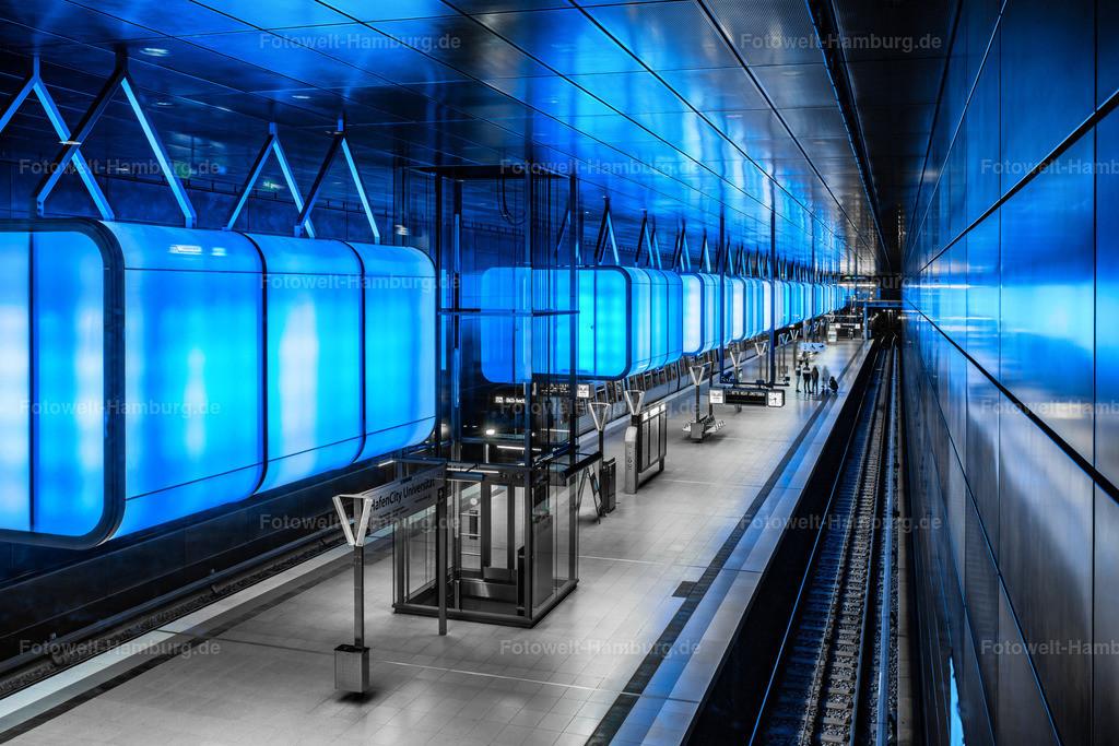 10200215 - Tiefes Blau | Faszinierende blaue Lichtstimmung in der  U-Bahn Station Hafencity Universität.