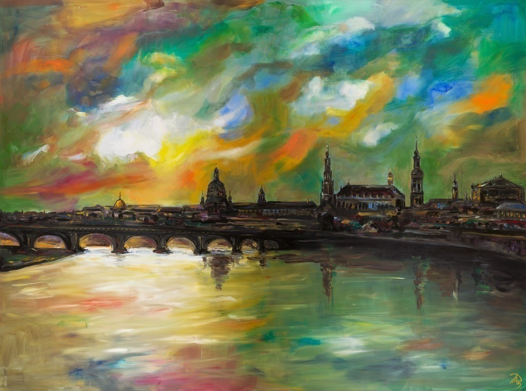 Dresden bei Nacht | Originalformat: 120x160cm  -  Produktionsjahr: 2015
