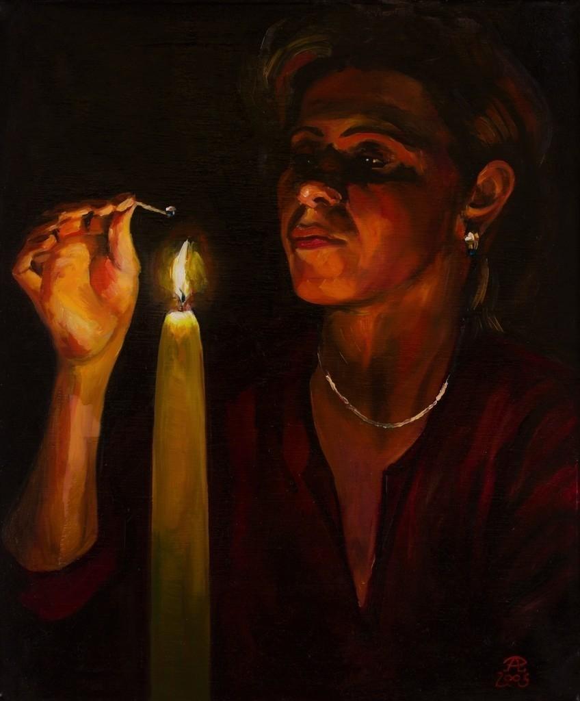 Frau, die eine Kerze entzündet | Originalformat: 60x50cm  -  Produktionsjahr: 2005