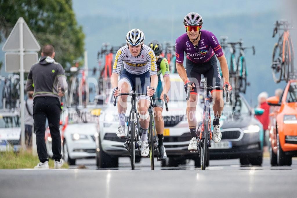 81st Skoda-Tour de Luxembourg 2021   81st Skoda-Tour de Luxembourg 2021, Stage 1 Luxembourg - Luxembourg; Bourscheid, 14.09.2021: JENSEN August (DELKO, 133) links mit LÓPEZ-CÓZAR Juan Antonio (Burgos-BH, 115) rechts am GPM Bourscheid