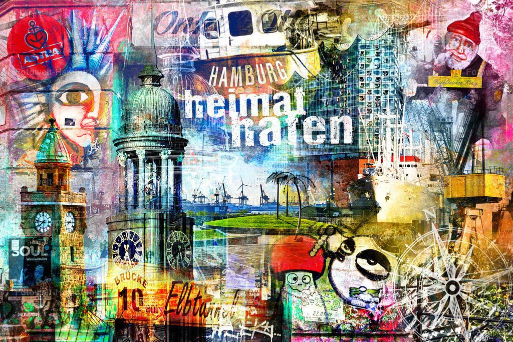10200413 - Heimathafen Hamburg | Einfach Hamburg - unsere neueste Hamburg Pop-Art Collage.