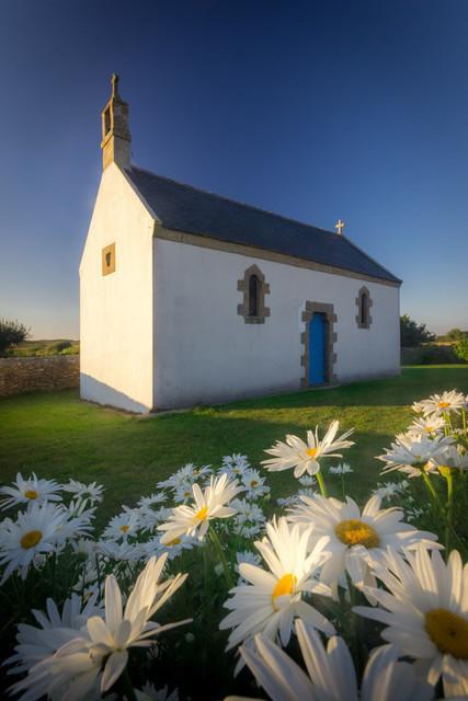 Kapelle im Blumenmeer | In der Bretagne gibt es unzählige kleine Kapellen. Dabei ist es oft nicht nur das Gebäude selbst, das eine erhabene Schönheit ausstrahlt, sondern die Lage am Meer, auf Hügeln oder Wiesen. Hier auf Ouessant ist der umfriedete Bereich  wunderschön mit Margeriten ausgeschmückt.
