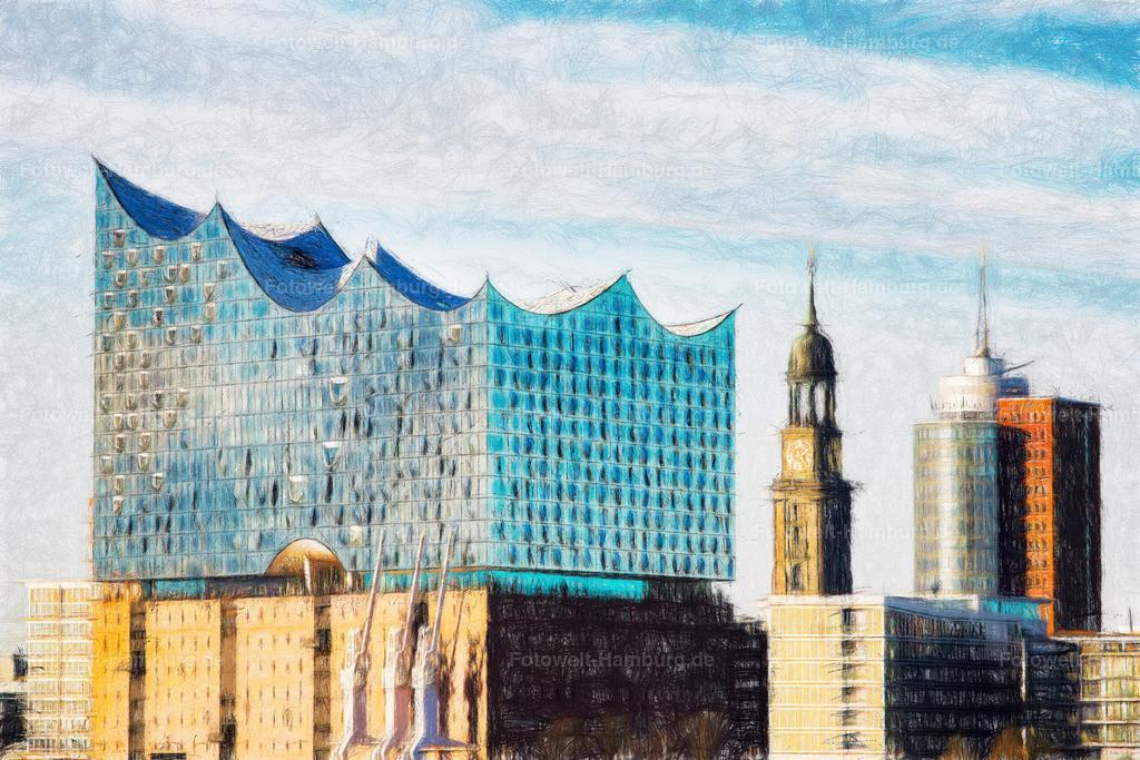 hamburg elbphilharmonie und michel digitales gemaelde bild auf leinwand