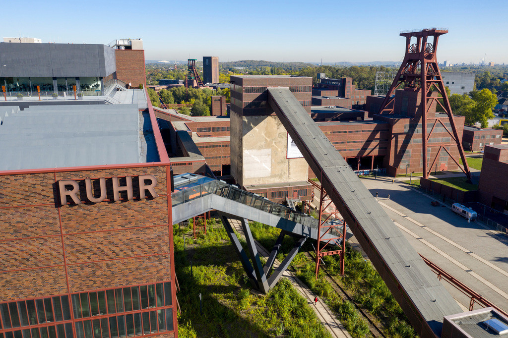 JT-180927-102 | Welterbe Zeche Zollverein in Essen, Doppelbock Fördergerüst von Schacht 12, Ruhrmuseum im Gebäude der ehemaligen Kohlenwäsche,