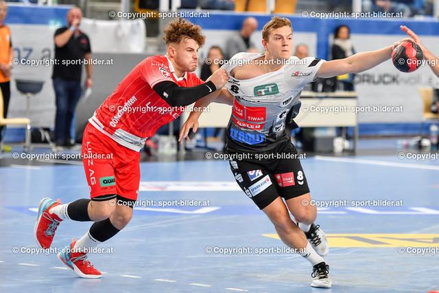 AUT, HLA, HC Linz AG vs Schwaz Handball Tirol   09.10.2021, Sporthauptschule Linz-Kleinmuenchen, AUT, HLA, HC Linz AG vs  Schwaz Handball Tirol, im Bild Sinisa Sironjic (Linz) vs Sebastian Philipp Spendier (Tirol)