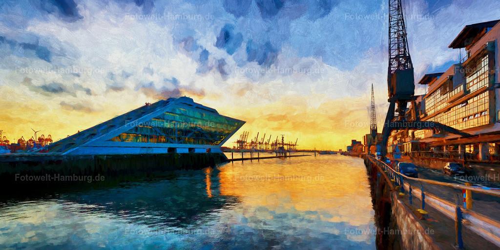 10210702 - Sonnenuntergang am Dockland   Digitales Gemälde vom Altonaer Hafen mit dem bekannten Dockland.