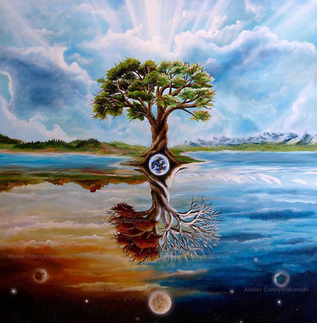 Jahreszeitenbaum umgekehrt | Phantastischer Realismus aus dem Atelier Conny Krakowski. Verkäuflich als Poster, Leinwanddruck und vieles mehr.