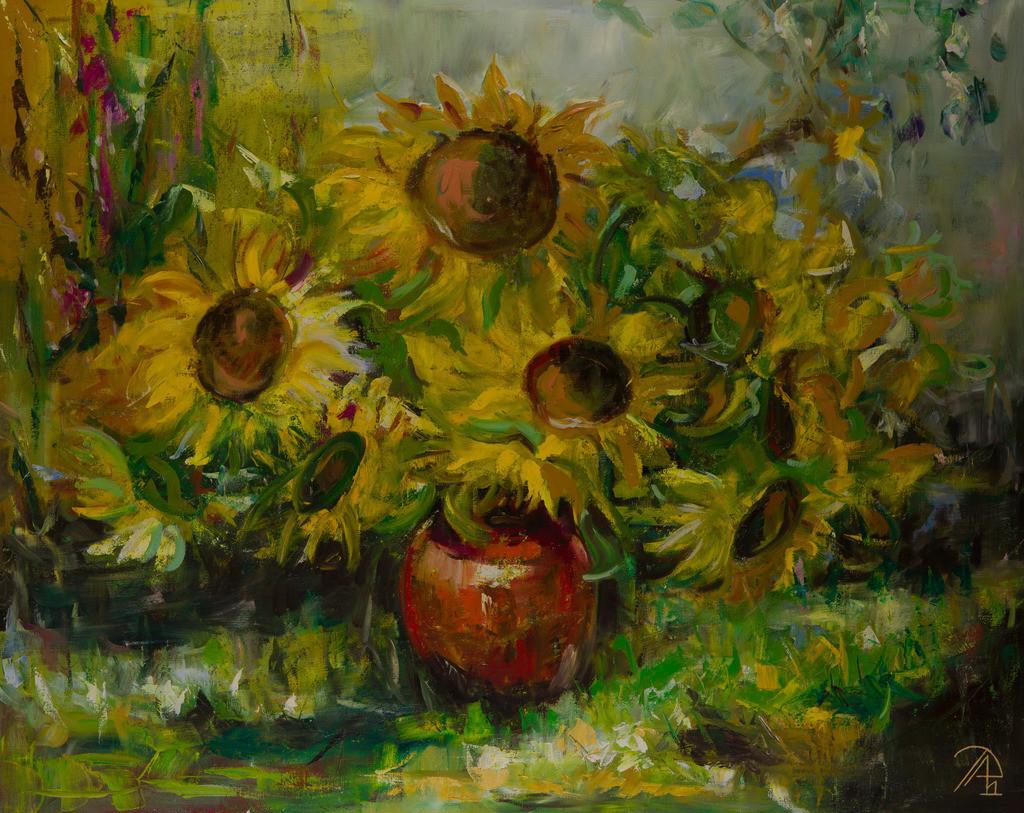 Sonnenblumen im Garten | Originalformat: 80x100cm  -  Produktionsjahr: 2011