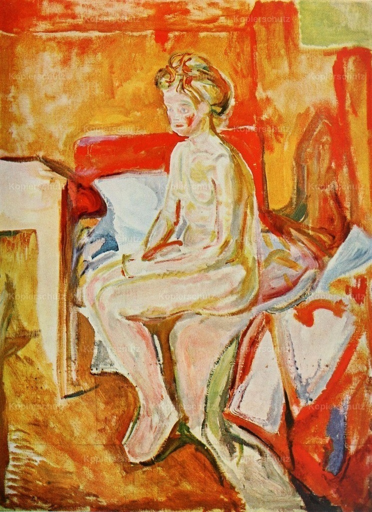 Munch_ Edvard (1863-1944) - Girl seated on the edge of her bed 1913-16
