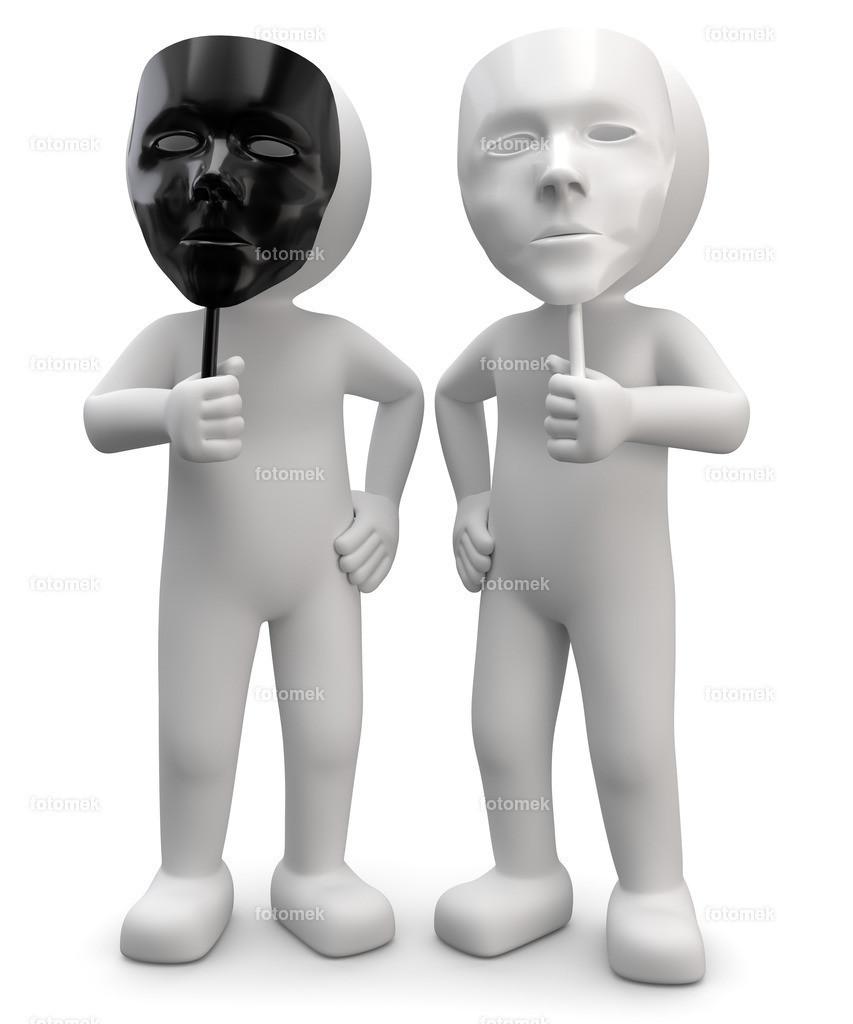 3d Männchen zwei Gesichter schwarz weiss | weisse 3D Männchen von Fotomek